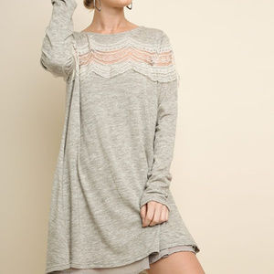 umgee long sleeve knit with lace detail dress